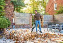 Leaf blower in autumn
