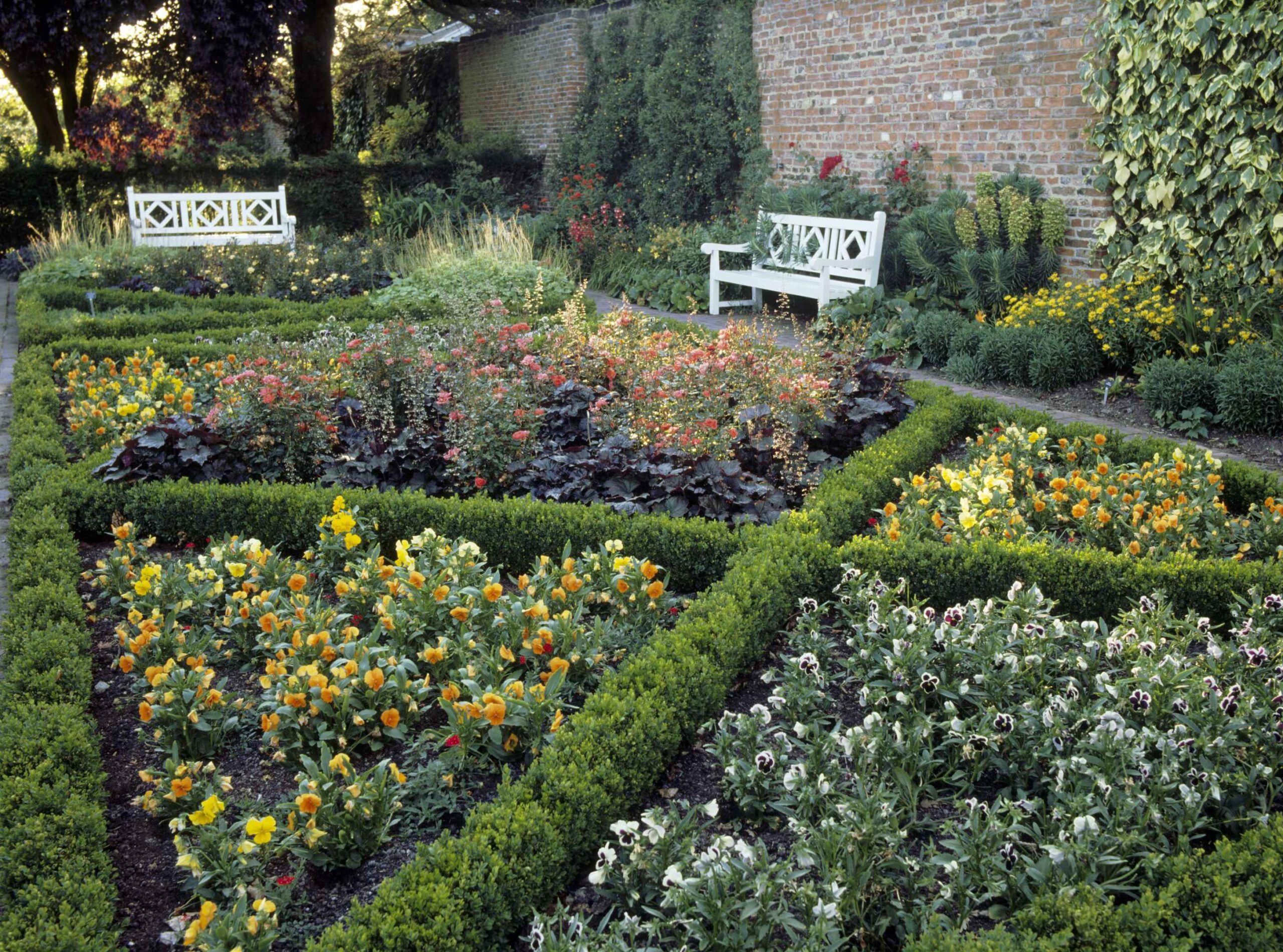 View of the Parterre in the west Formal Garden at Beningbrough Hall.