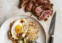 Blackened steak with kimchi