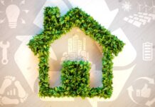 Sustainable homes 3d illustration