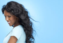 Woman with magnificent hair extensions